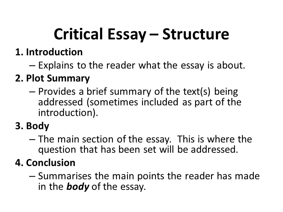 critical essay writing structuring an essay critical essay  critical essay structure 1 introduction explains to the reader what the essay is