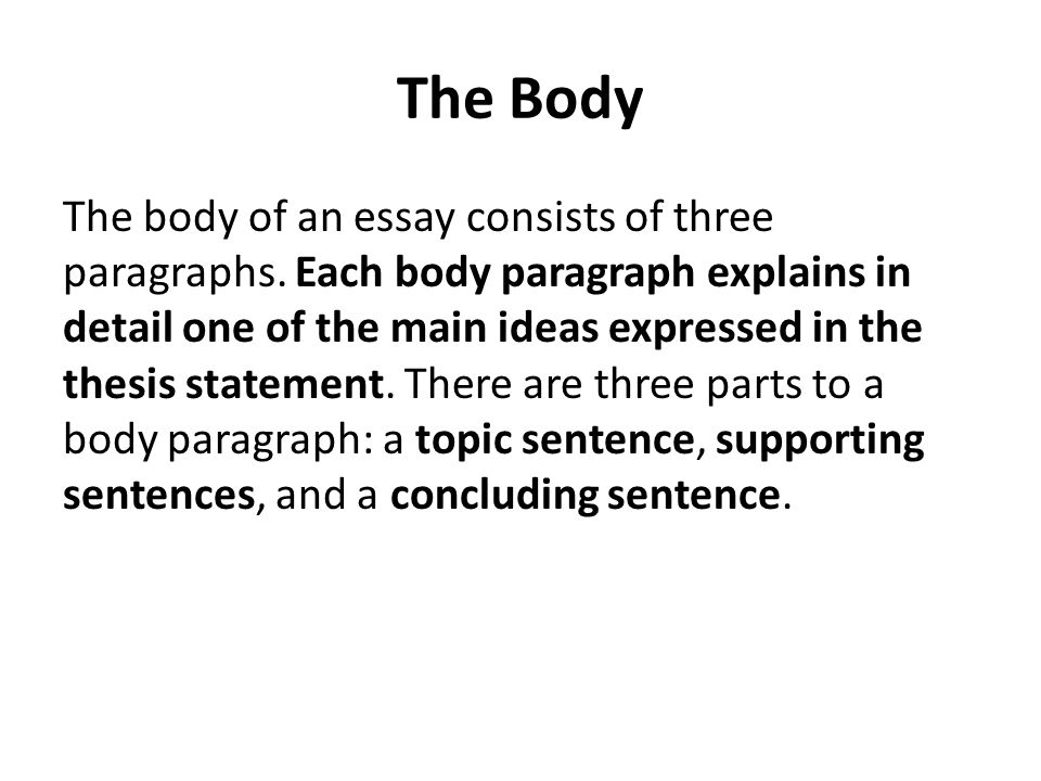 body of thesis This resource outlines the generally accepted structure for introductions, body paragraphs a thesis is not the whole essay.