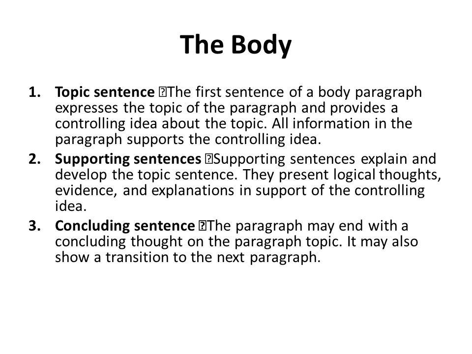 controlling idea essay format
