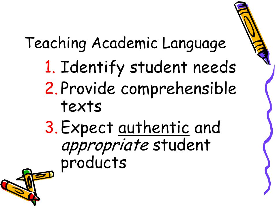 Teaching Academic Language 1.Identify student needs 2.Provide comprehensible texts 3.Expect authentic and appropriate student products
