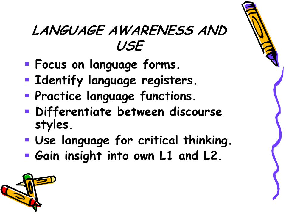 LANGUAGE AWARENESS AND USE  Focus on language forms.