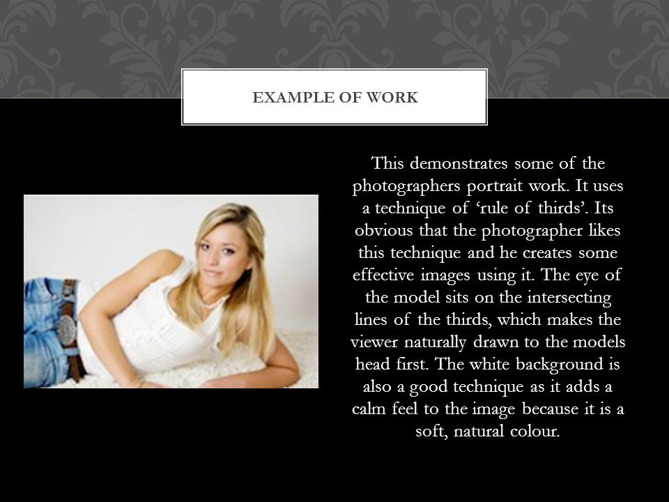 This demonstrates some of the photographers portrait work.
