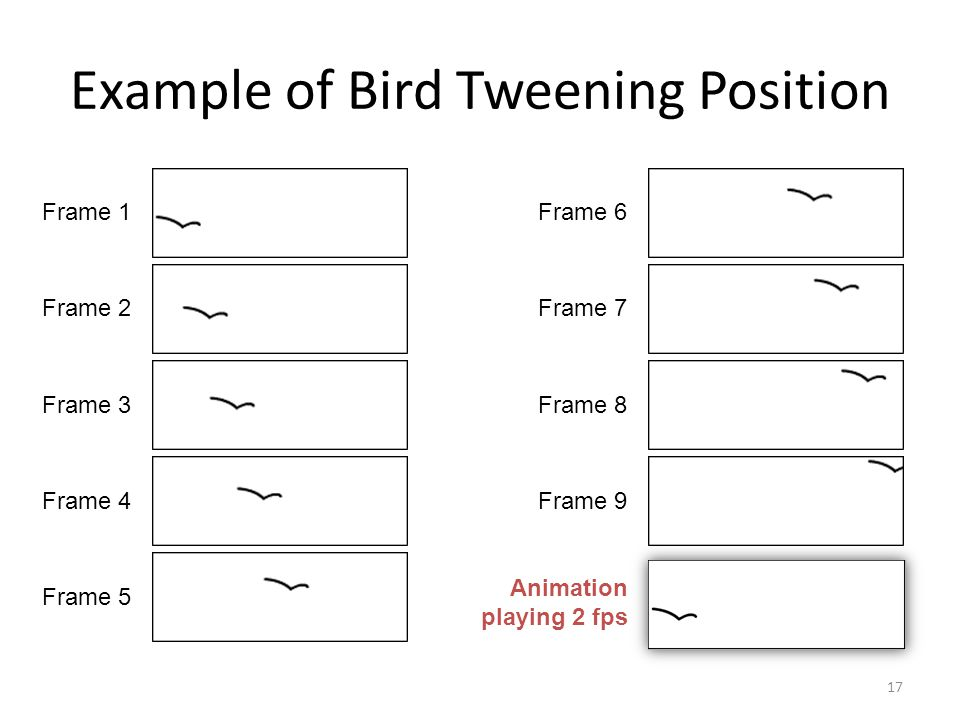 Example of Bird Tweening Position 17 Frame 1 Frame 2 Frame 3 Frame 4 Frame 5 Frame 6 Frame 7 Frame 8 Frame 9 Animation playing 2 fps
