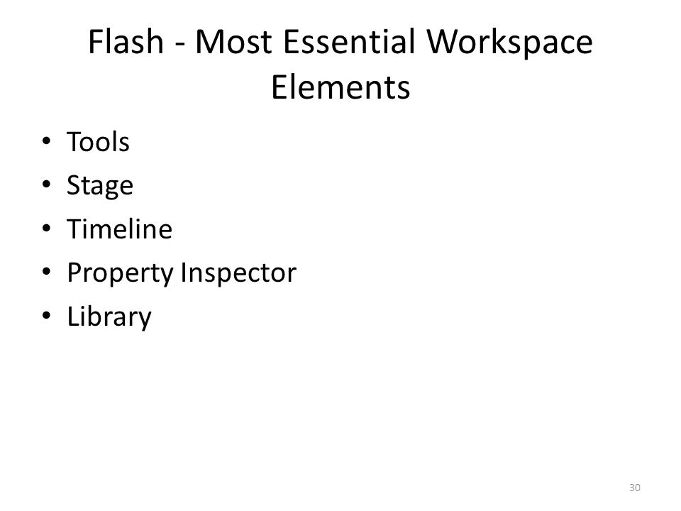 Flash - Most Essential Workspace Elements Tools Stage Timeline Property Inspector Library 30