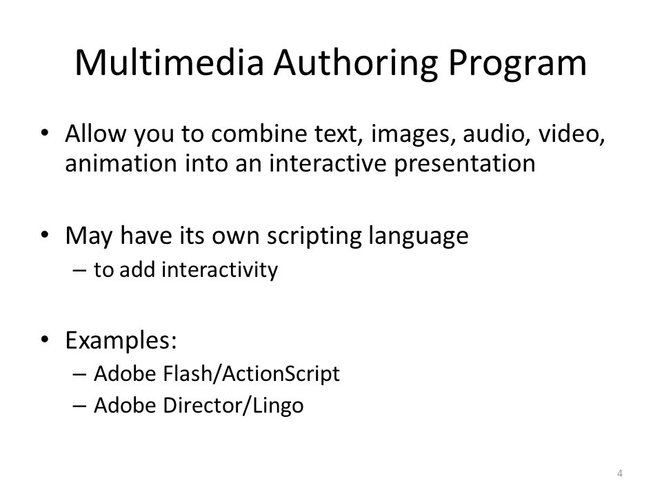 Multimedia Authoring Program Allow you to combine text, images, audio, video, animation into an interactive presentation May have its own scripting language – to add interactivity Examples: – Adobe Flash/ActionScript – Adobe Director/Lingo 4