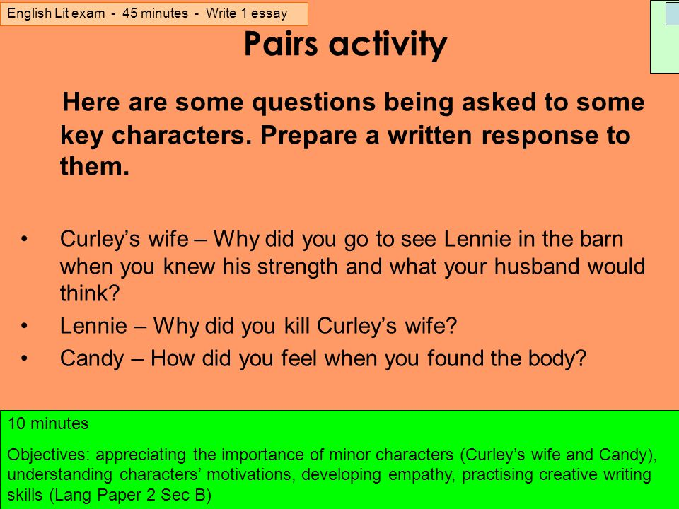 Curley's Wife Essay - GCSE English - Marked by