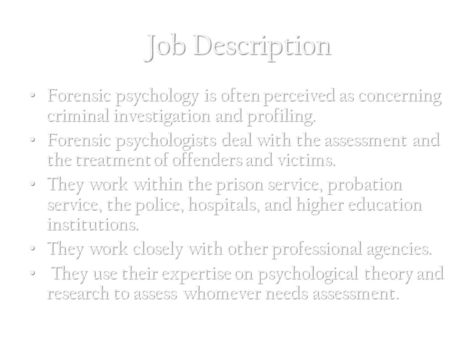 Psychologist? Job Description?