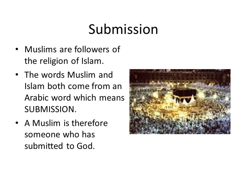 Submission Muslims are followers of the religion of Islam.