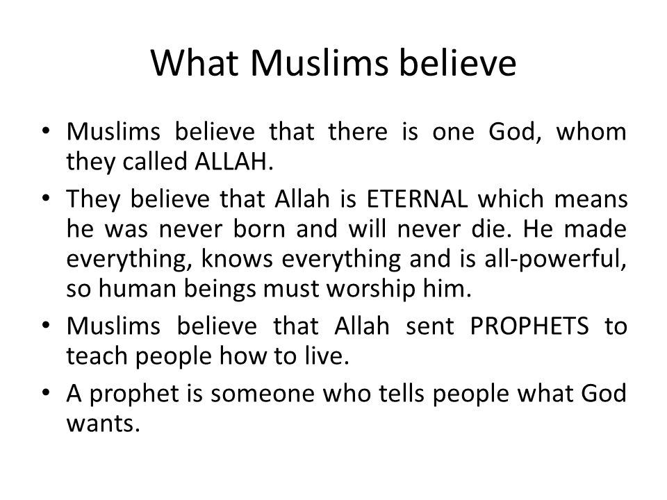 What Muslims believe Muslims believe that there is one God, whom they called ALLAH.