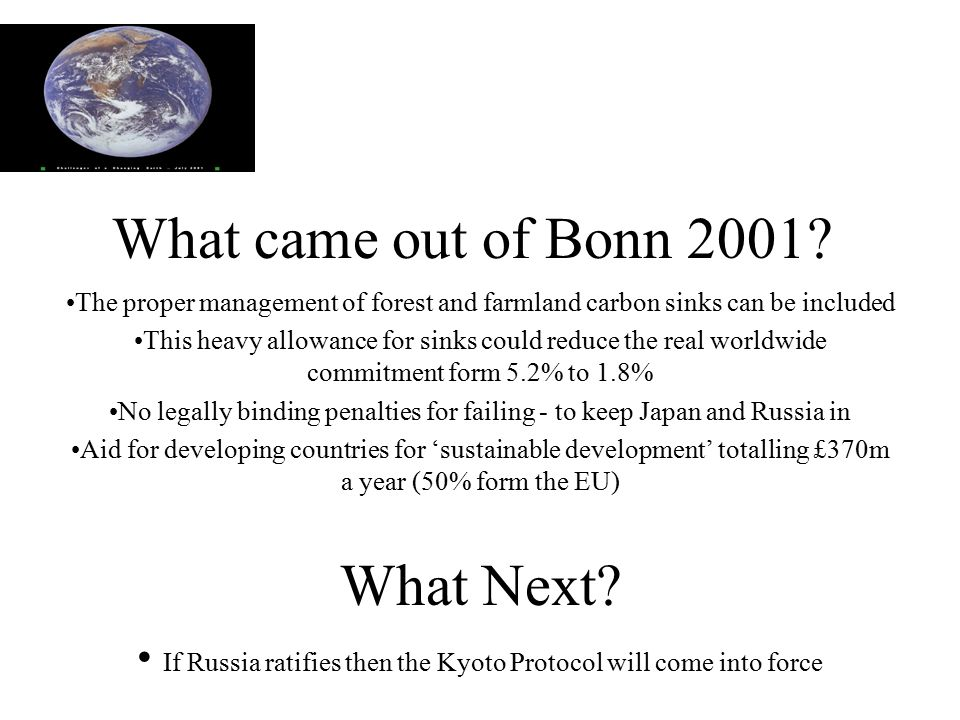 What came out of Bonn 2001.