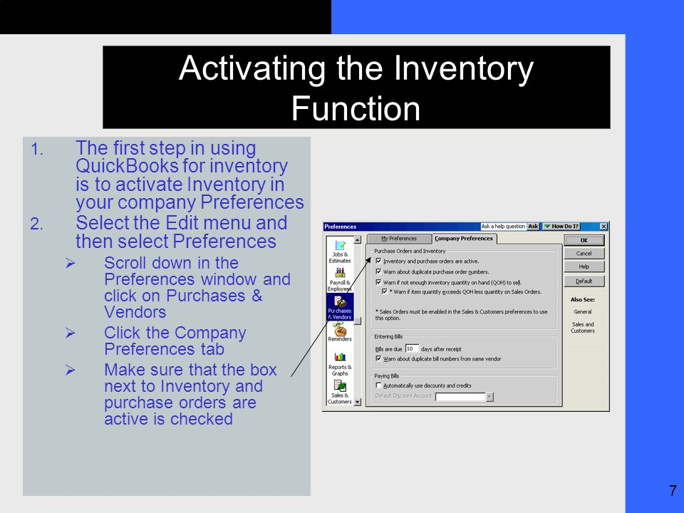 7 Activating the Inventory Function 1.