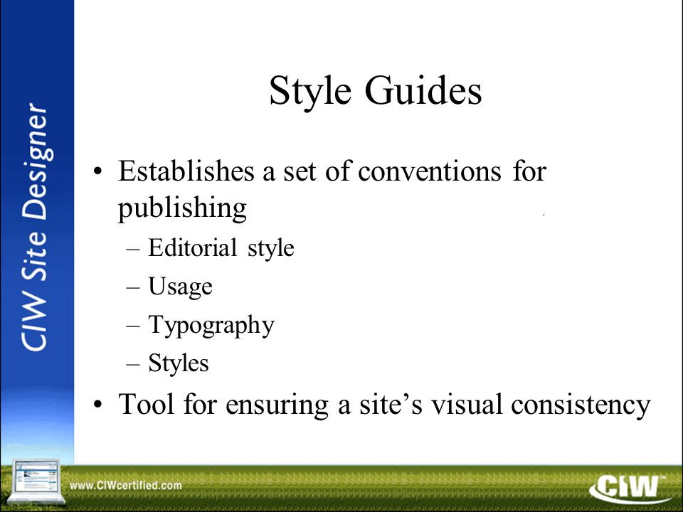 Style Guides Establishes a set of conventions for publishing –Editorial style –Usage –Typography –Styles Tool for ensuring a site's visual consistency