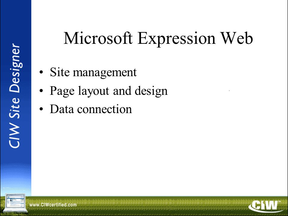 Microsoft Expression Web Site management Page layout and design Data connection