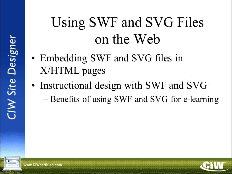 Using SWF and SVG Files on the Web Embedding SWF and SVG files in X/HTML pages Instructional design with SWF and SVG –Benefits of using SWF and SVG for e-learning