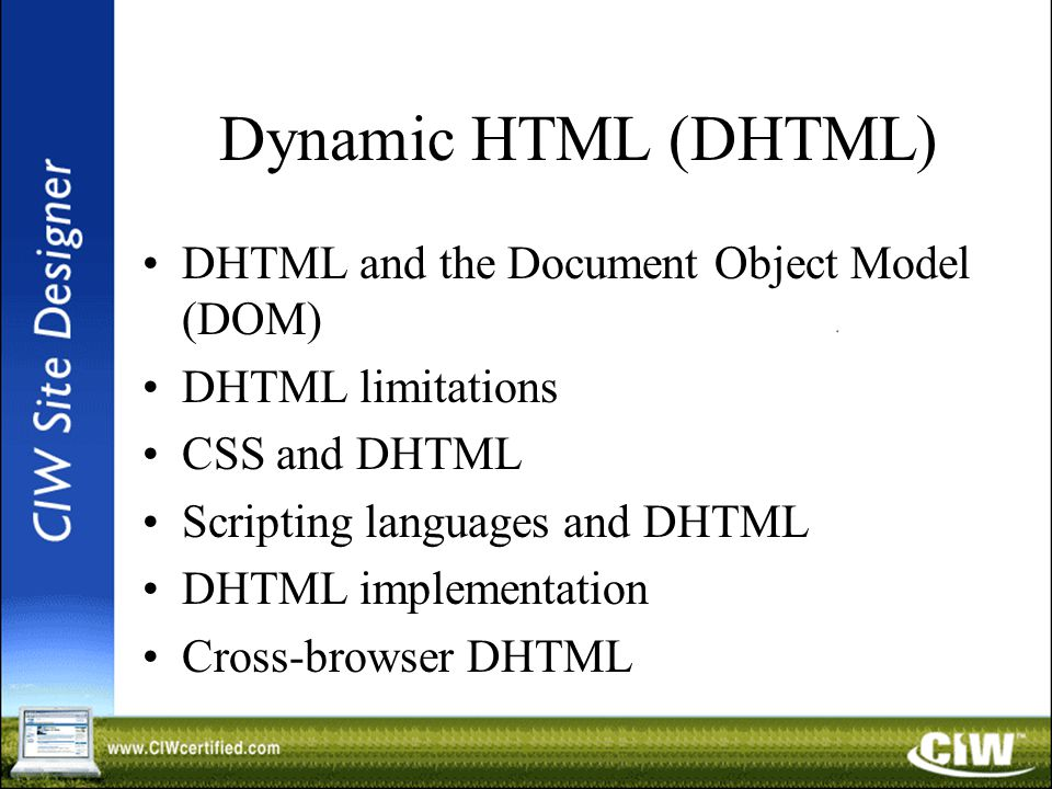 Dynamic HTML (DHTML) DHTML and the Document Object Model (DOM) DHTML limitations CSS and DHTML Scripting languages and DHTML DHTML implementation Cross-browser DHTML