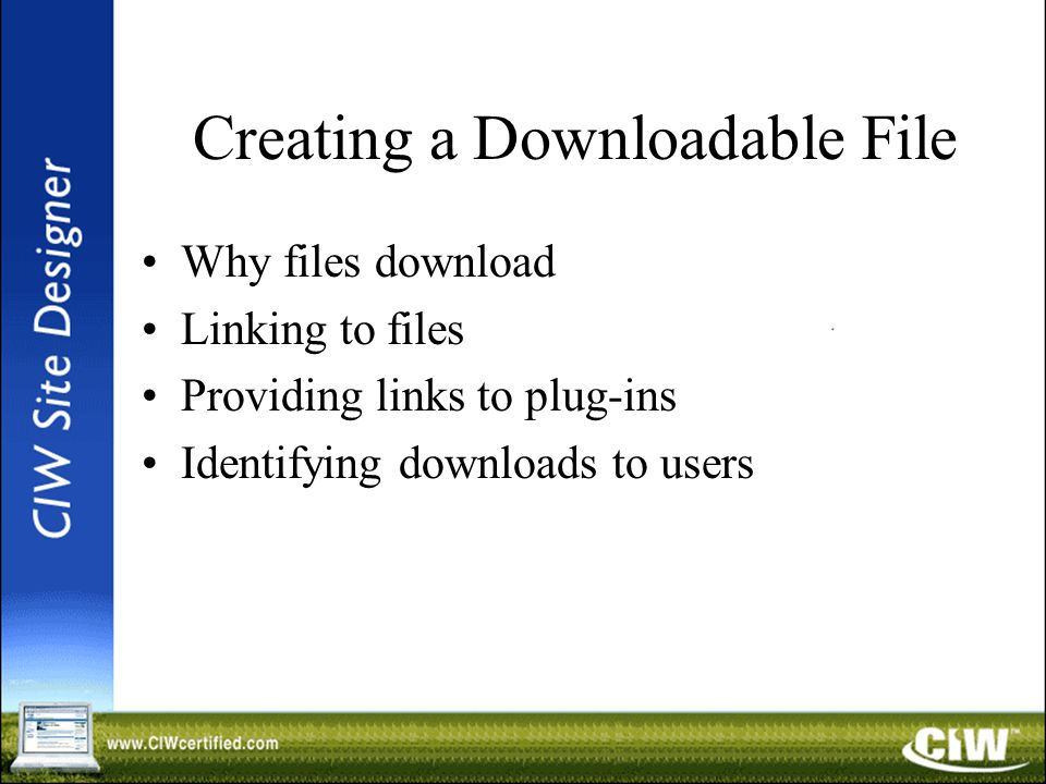 Creating a Downloadable File Why files download Linking to files Providing links to plug-ins Identifying downloads to users