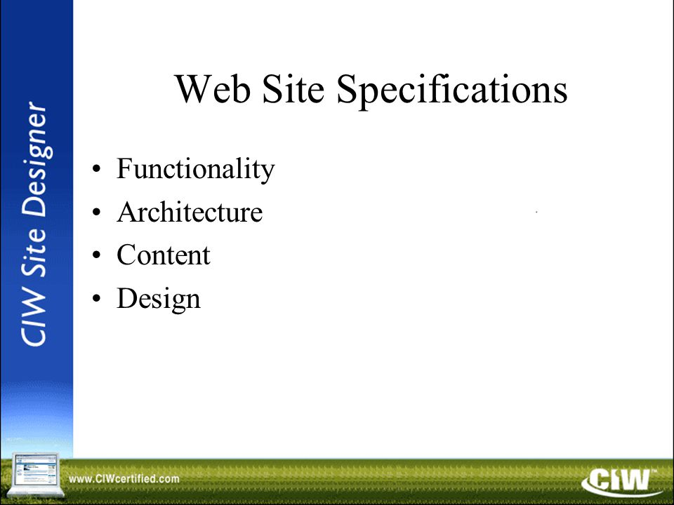 Web Site Specifications Functionality Architecture Content Design