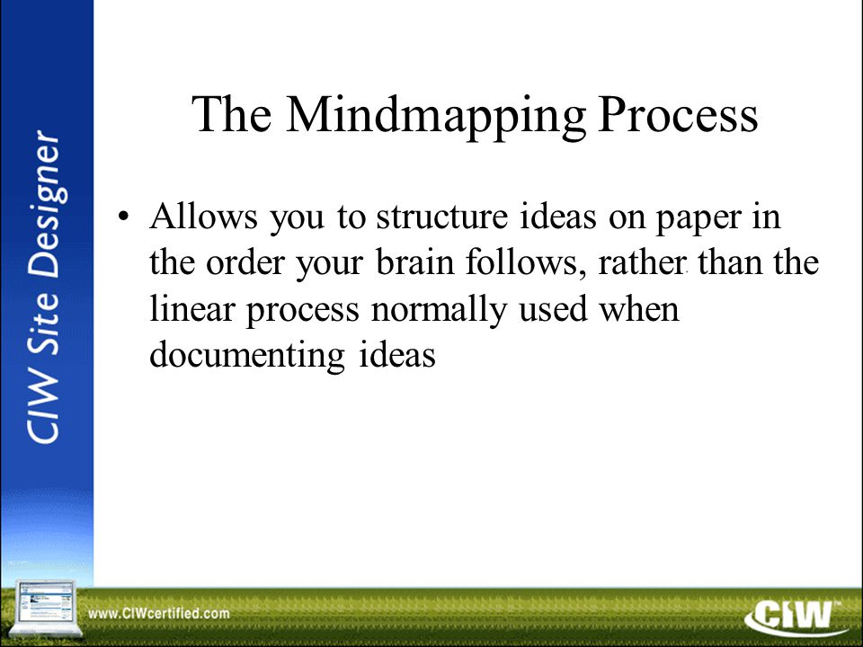 The Mindmapping Process Allows you to structure ideas on paper in the order your brain follows, rather than the linear process normally used when documenting ideas