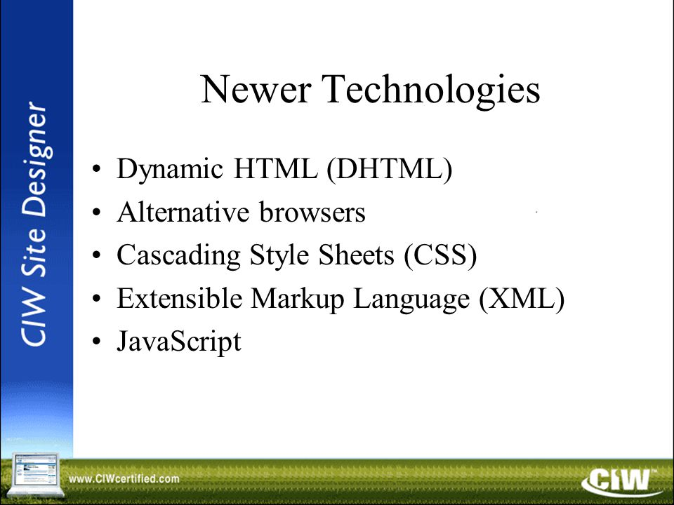 Newer Technologies Dynamic HTML (DHTML) Alternative browsers Cascading Style Sheets (CSS) Extensible Markup Language (XML) JavaScript