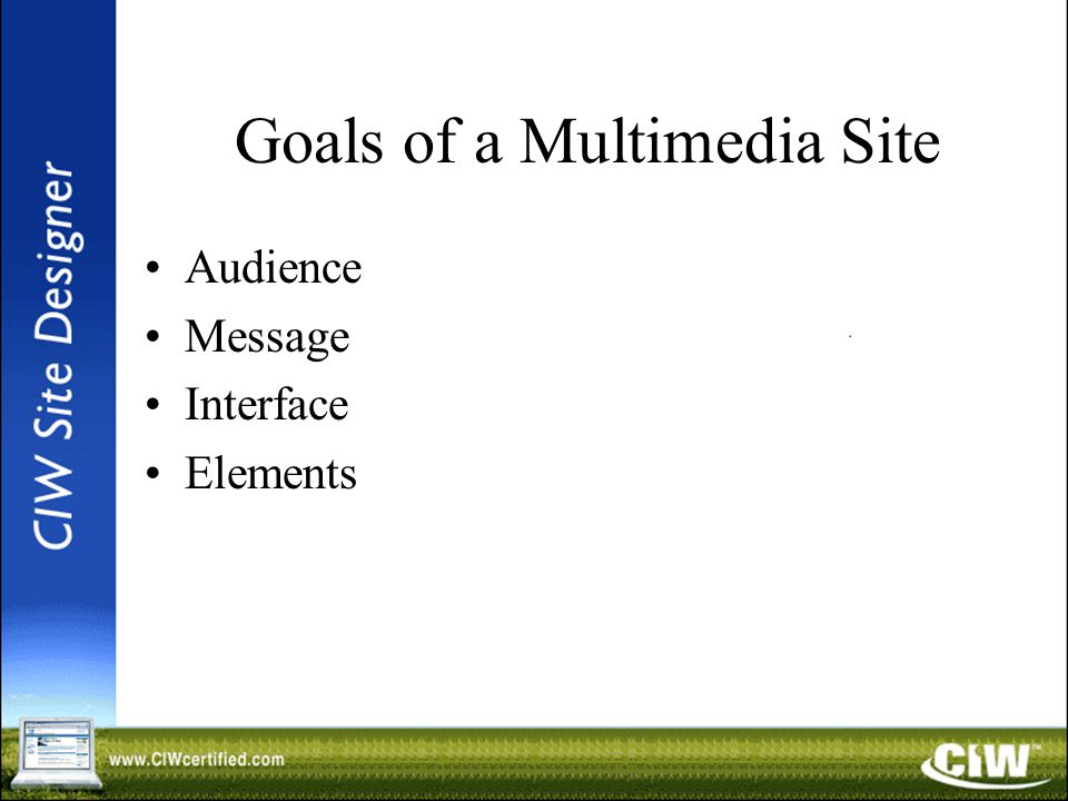 Goals of a Multimedia Site Audience Message Interface Elements