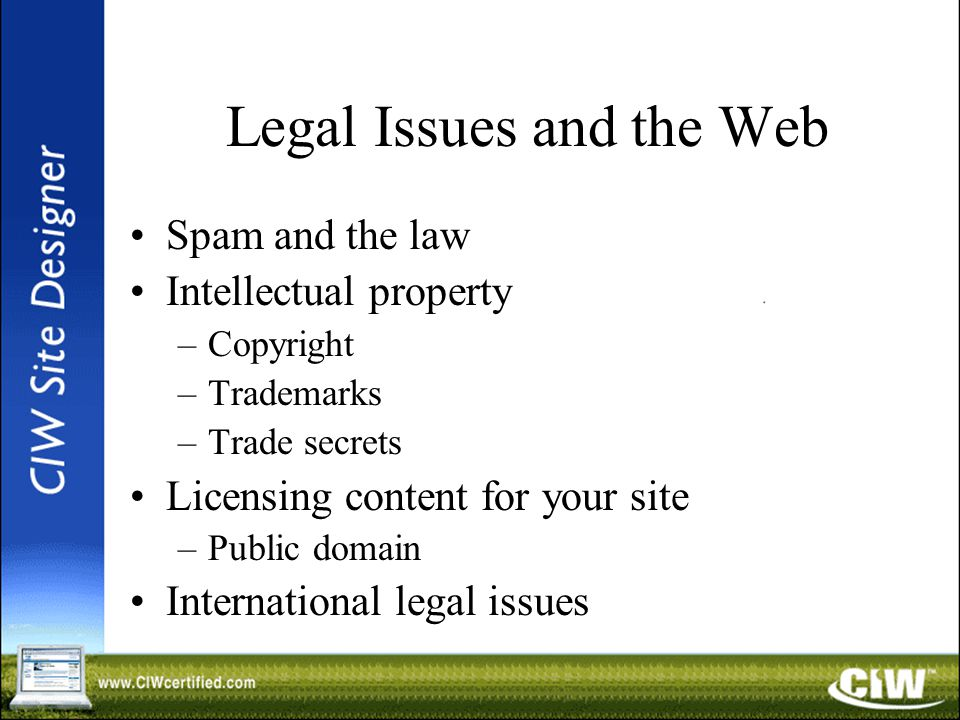 Legal Issues and the Web Spam and the law Intellectual property –Copyright –Trademarks –Trade secrets Licensing content for your site –Public domain International legal issues