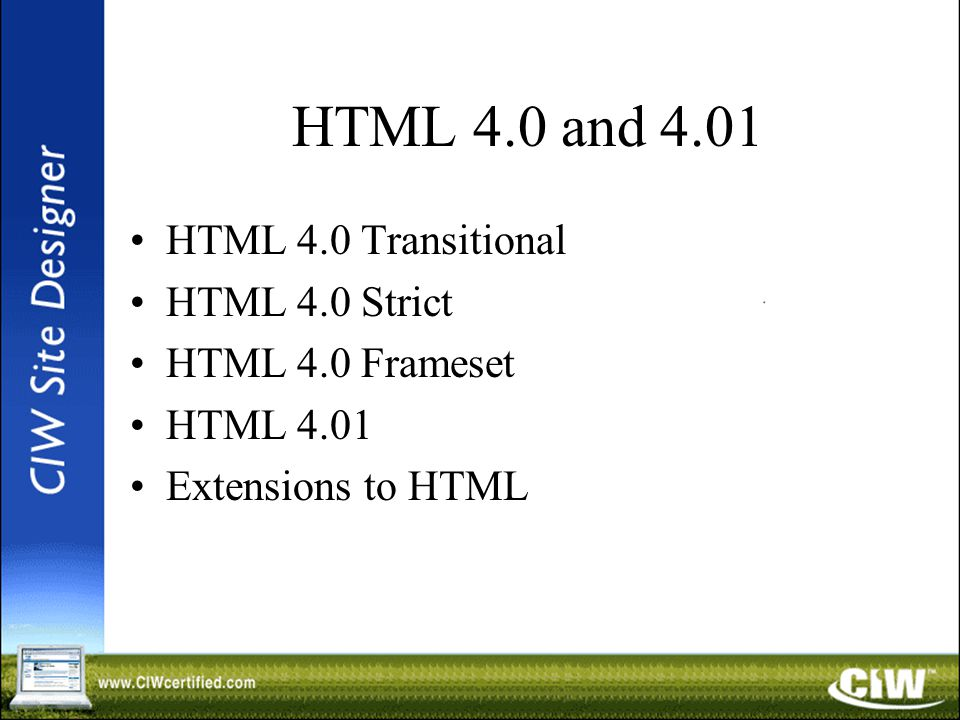 HTML 4.0 and 4.01 HTML 4.0 Transitional HTML 4.0 Strict HTML 4.0 Frameset HTML 4.01 Extensions to HTML