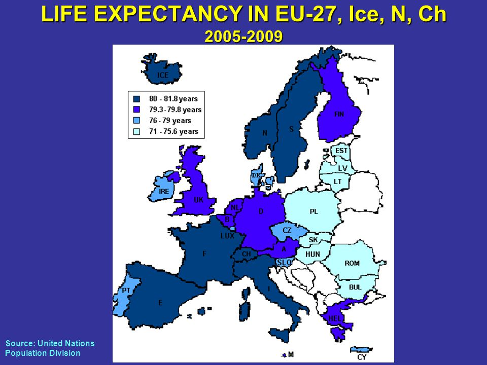 LIFE EXPECTANCY IN EU-27, Ice, N, Ch Source: United Nations Population Division