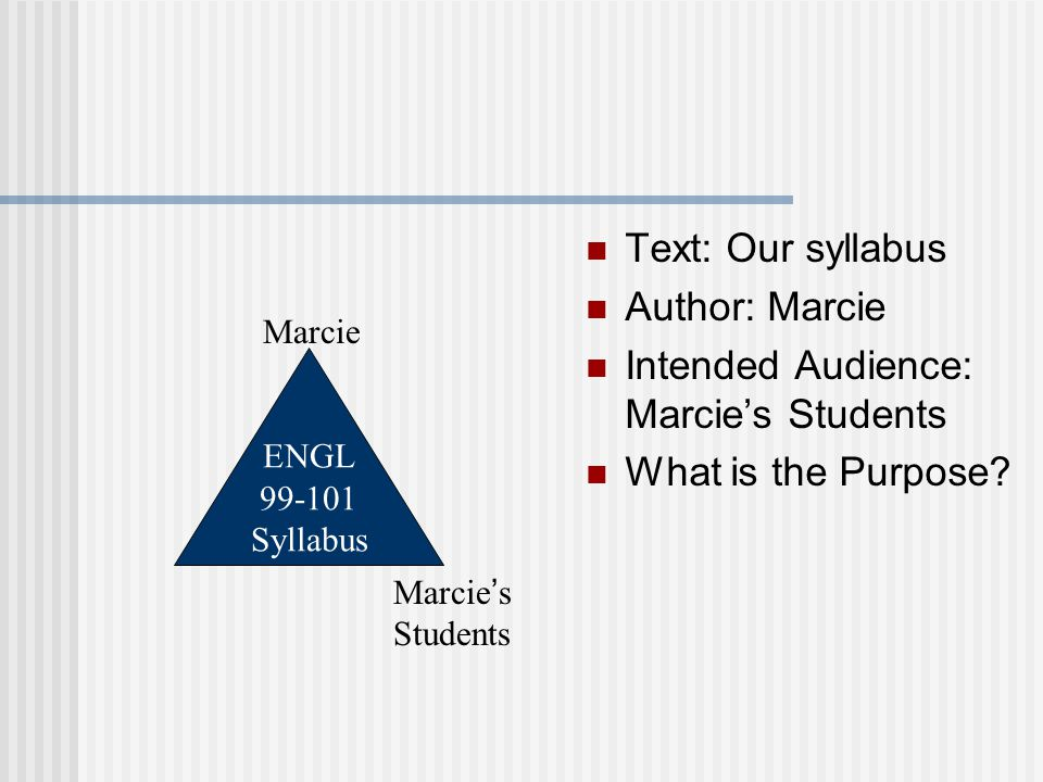Text: Our syllabus Author: Marcie Intended Audience: Marcie's Students What is the Purpose.