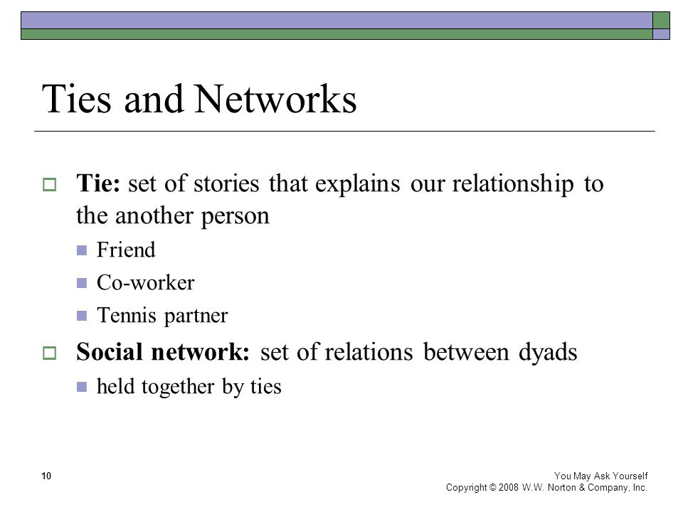Ties and Networks You May Ask Yourself Copyright © 2008 W.W.