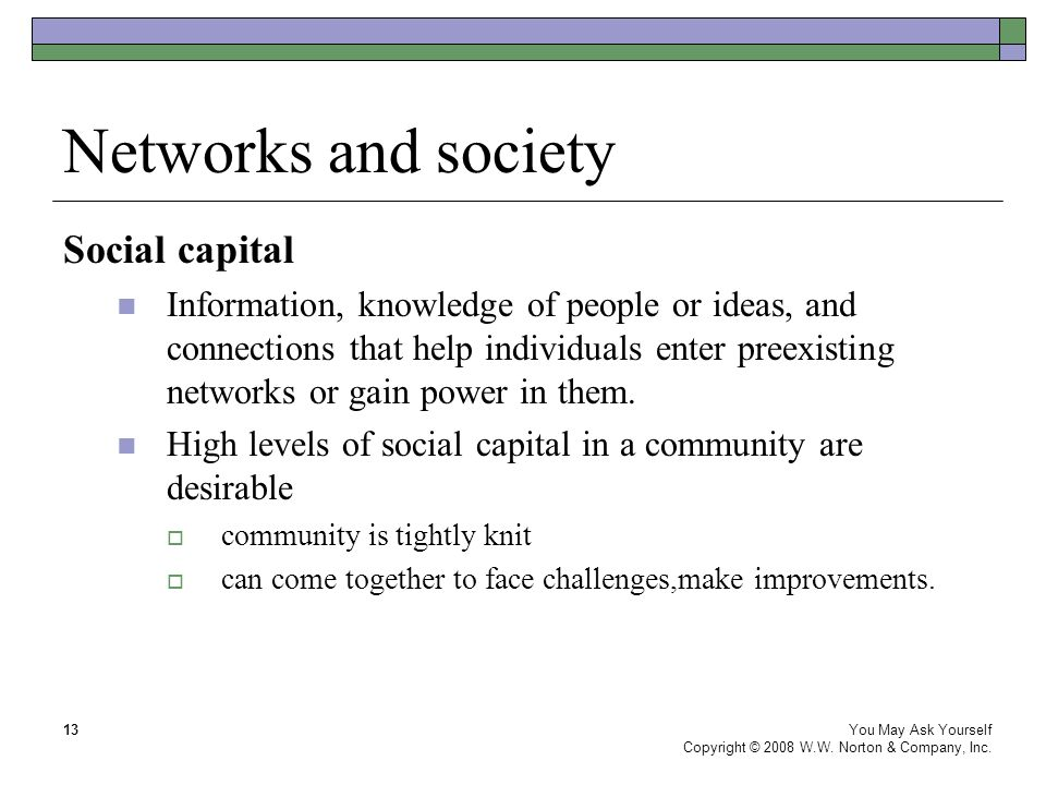 Networks and society You May Ask Yourself Copyright © 2008 W.W.