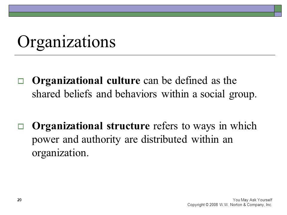 Organizations You May Ask Yourself Copyright © 2008 W.W.