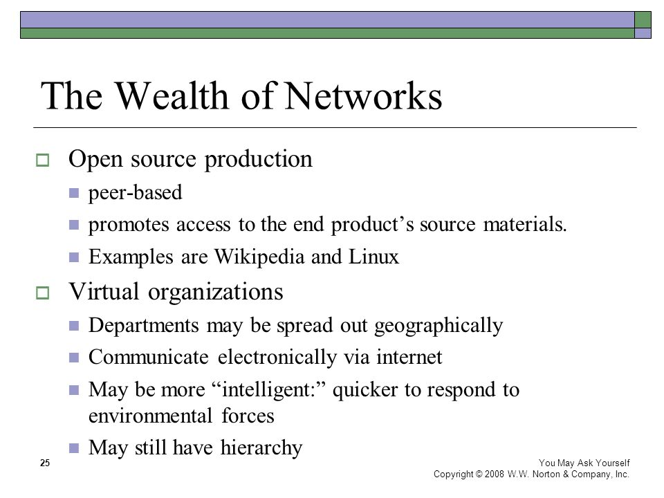 The Wealth of Networks You May Ask Yourself Copyright © 2008 W.W.