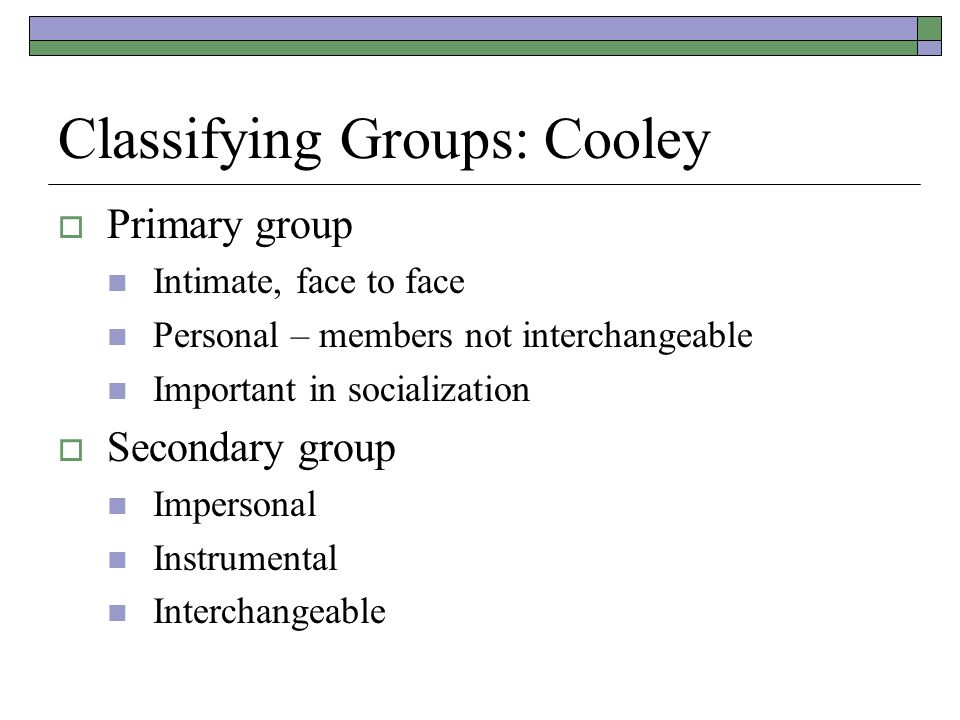 Classifying Groups: Cooley  Primary group Intimate, face to face Personal – members not interchangeable Important in socialization  Secondary group Impersonal Instrumental Interchangeable