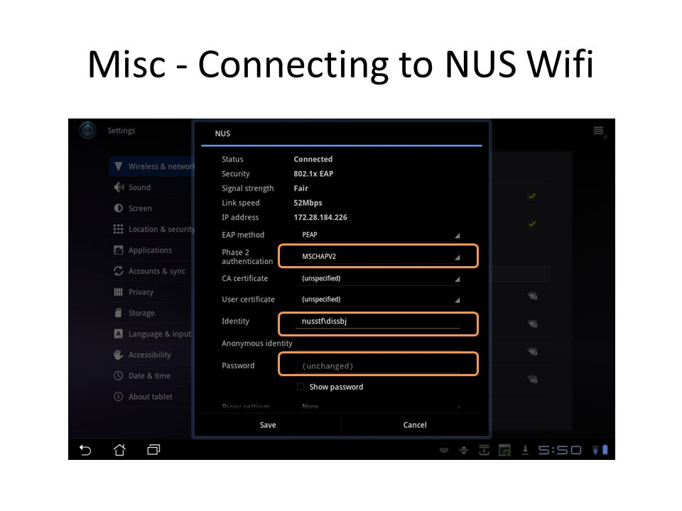 Misc - Connecting to NUS Wifi