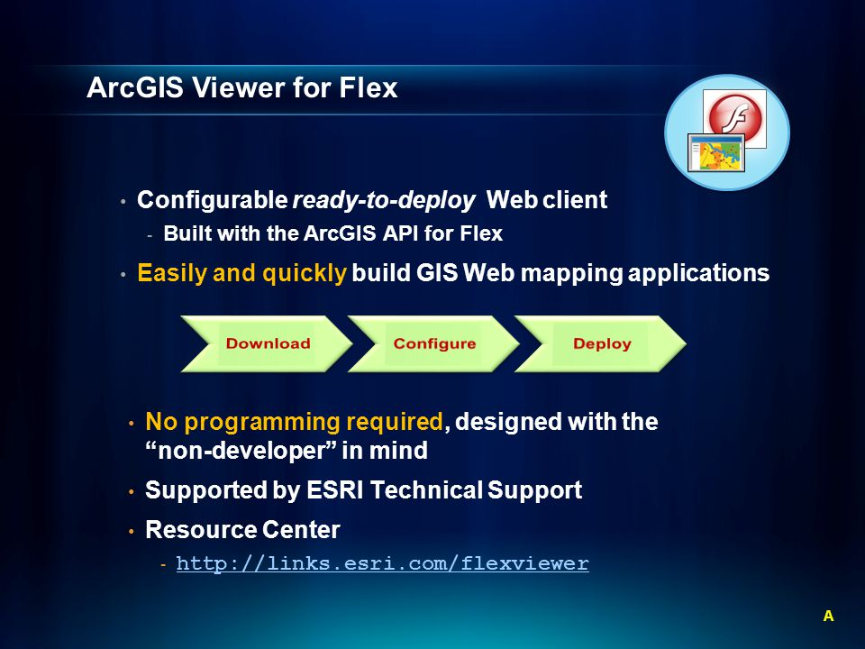 Configurable ready-to-deploy Web client - Built with the ArcGIS API for Flex Easily and quickly build GIS Web mapping applications ArcGIS Viewer for Flex No programming required, designed with the non-developer in mind Supported by ESRI Technical Support Resource Center A