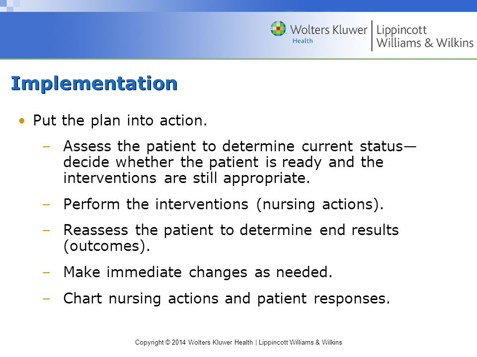 Copyright © 2014 Wolters Kluwer Health | Lippincott Williams & Wilkins Implementation Put the plan into action.