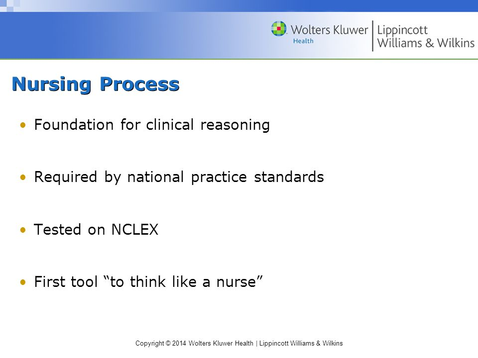 Copyright © 2014 Wolters Kluwer Health | Lippincott Williams & Wilkins Nursing Process Foundation for clinical reasoning Required by national practice standards Tested on NCLEX First tool to think like a nurse