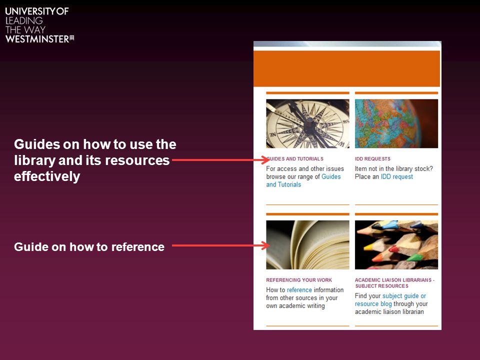 Guides on how to use the library and its resources effectively Guide on how to reference