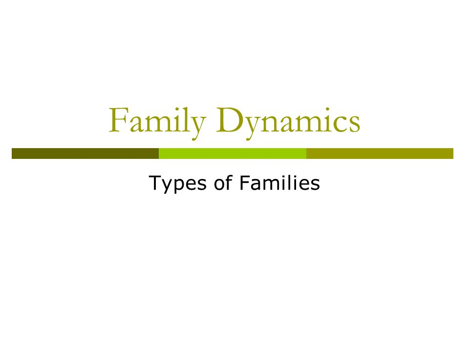 Family Dynamics Types of Families
