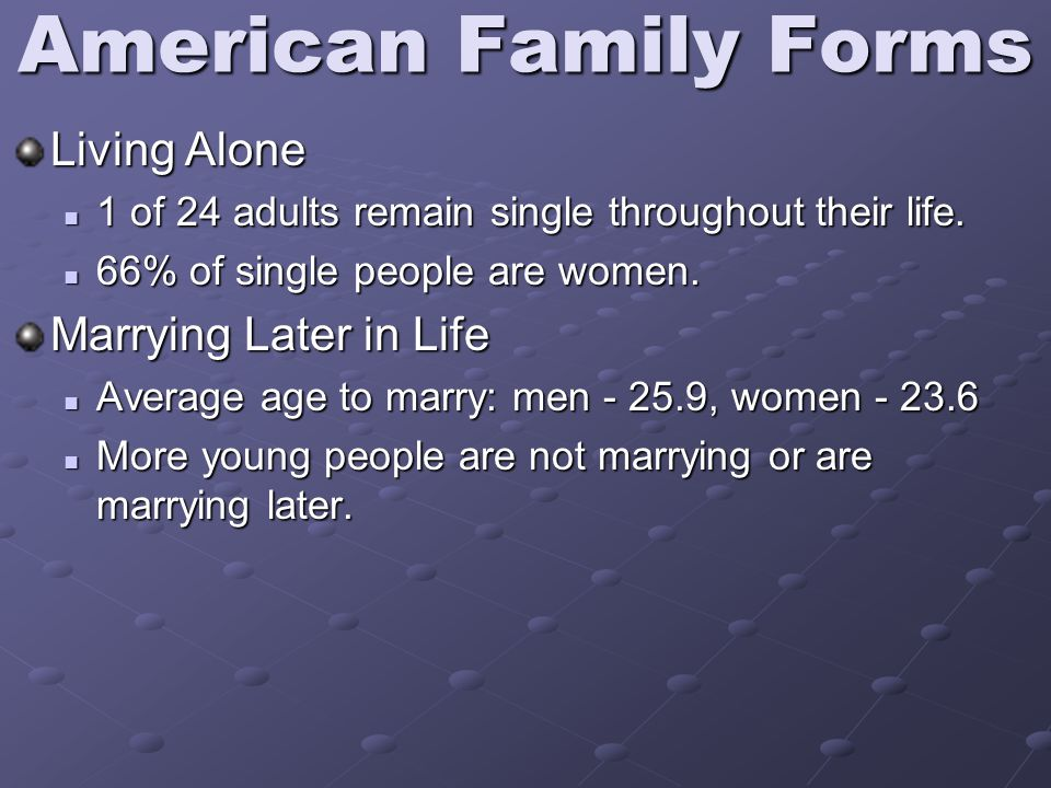 American Family Forms Living Alone 1 of 24 adults remain single throughout their life.