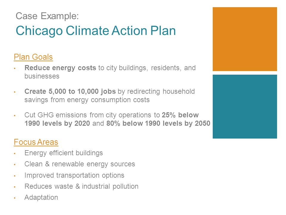 Case Example: Chicago Climate Action Plan Plan Goals Reduce energy costs to city buildings, residents, and businesses Create 5,000 to 10,000 jobs by redirecting household savings from energy consumption costs Cut GHG emissions from city operations to 25% below 1990 levels by 2020 and 80% below 1990 levels by 2050 Focus Areas Energy efficient buildings Clean & renewable energy sources Improved transportation options Reduces waste & industrial pollution Adaptation