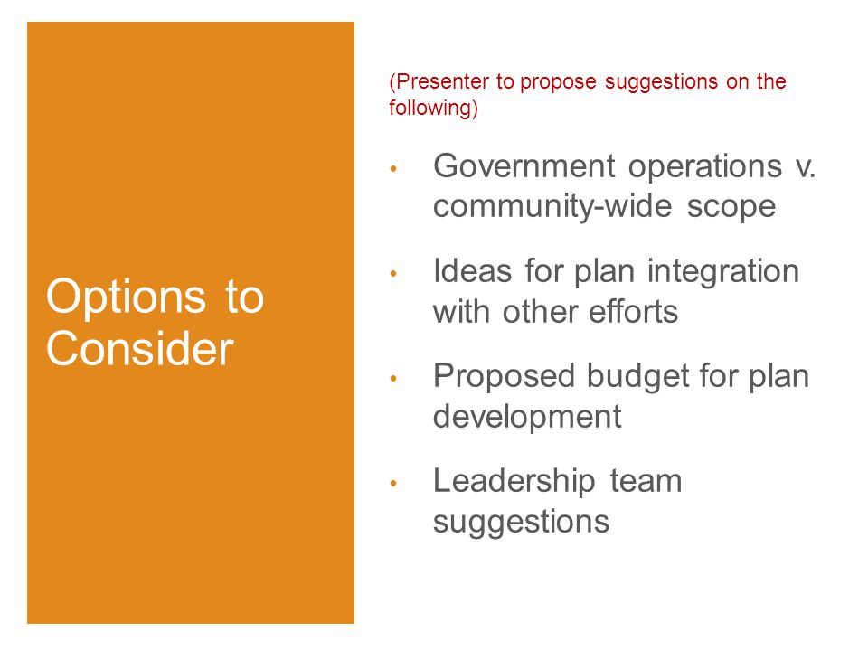 (Presenter to propose suggestions on the following) Government operations v.