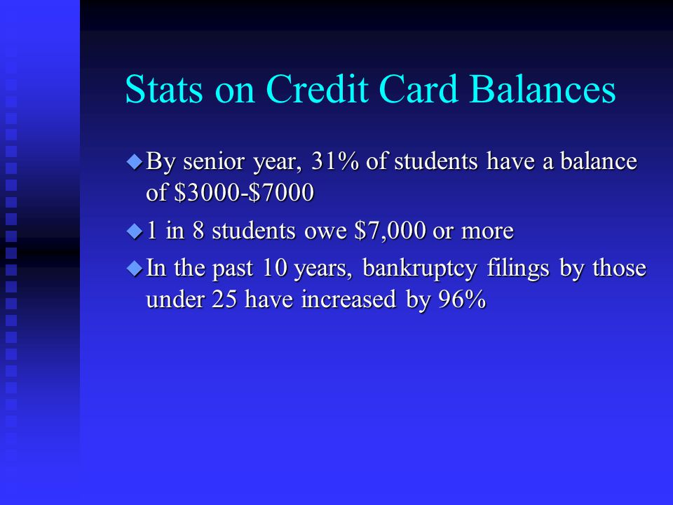Stats on Credit Card Balances u By senior year, 31% of students have a balance of $3000-$7000 u 1 in 8 students owe $7,000 or more u In the past 10 years, bankruptcy filings by those under 25 have increased by 96%