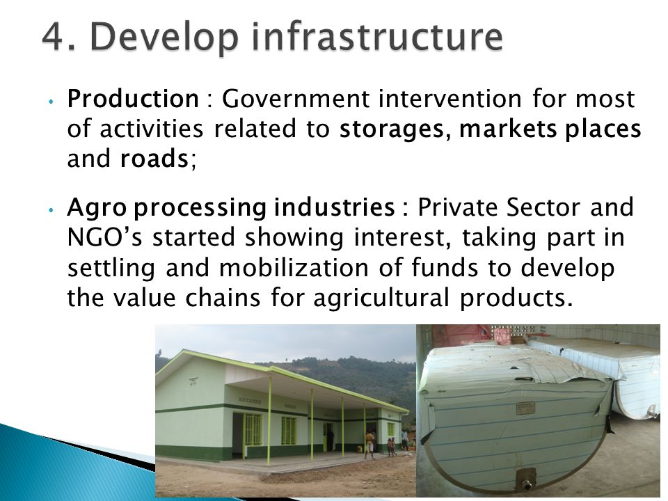 Production : Government intervention for most of activities related to storages, markets places and roads; Agro processing industries : Private Sector and NGO's started showing interest, taking part in settling and mobilization of funds to develop the value chains for agricultural products.