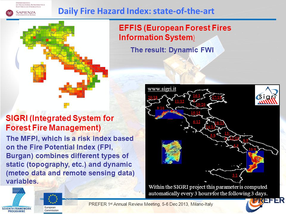 PREFER 1 st Annual Review Meeting, 5-6 Dec 2013, Milano-Italy The MFPI, which is a risk index based on the Fire Potential Index (FPI, Burgan) combines different types of static (topography, etc.) and dynamic (meteo data and remote sensing data) variables.