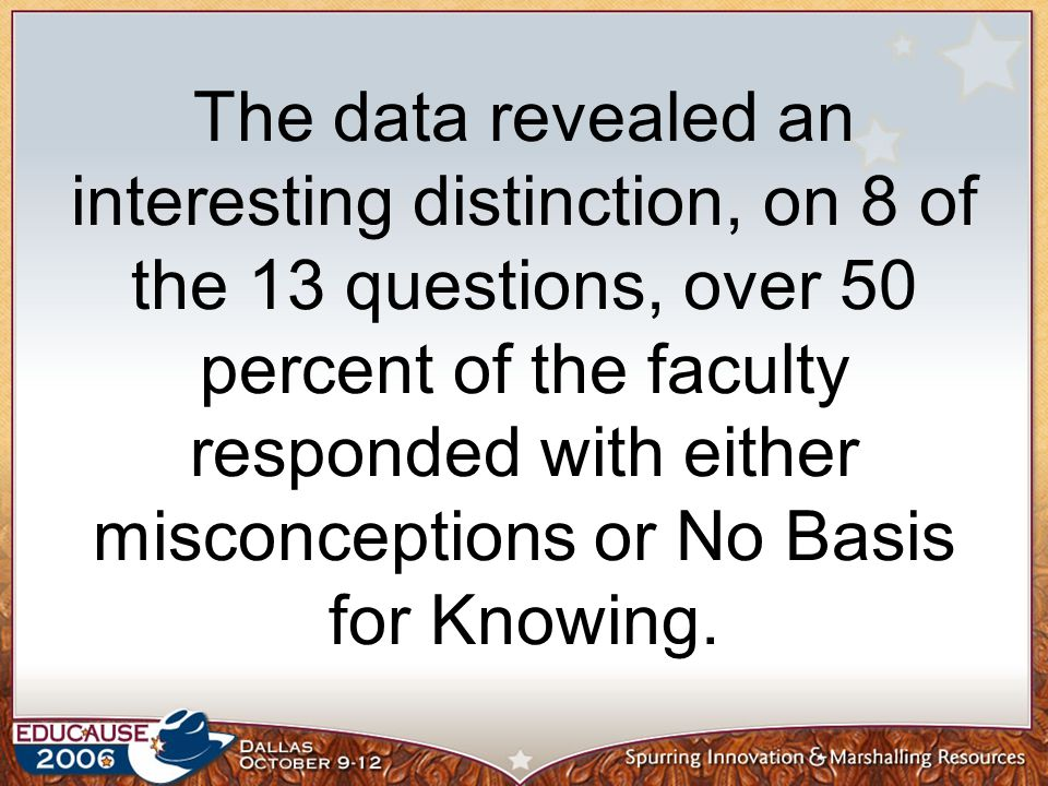 The data revealed an interesting distinction, on 8 of the 13 questions, over 50 percent of the faculty responded with either misconceptions or No Basis for Knowing.