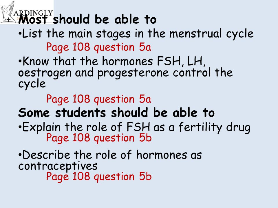 Most should be able to List the main stages in the menstrual cycle Know that the hormones FSH, LH, oestrogen and progesterone control the cycle Some students should be able to Explain the role of FSH as a fertility drug Describe the role of hormones as contraceptives Page 108 question 5a Page 108 question 5b