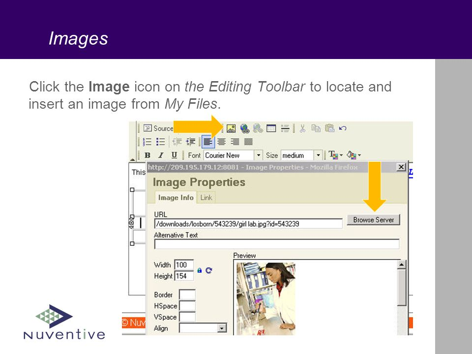 Images Click the Image icon on the Editing Toolbar to locate and insert an image from My Files.