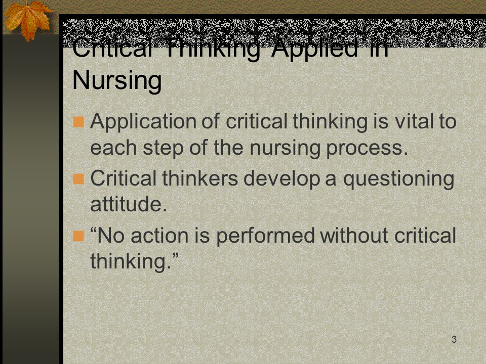 using critical thinking in nursing