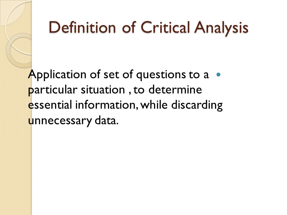 Online Writing Lab - critical analysis paper definition